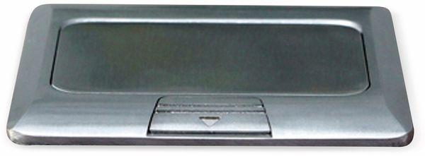 Boden-Einbausteckdose LEDmaxx, 1x Steckdose, 1x RJ45, Alu, eckig - Produktbild 5