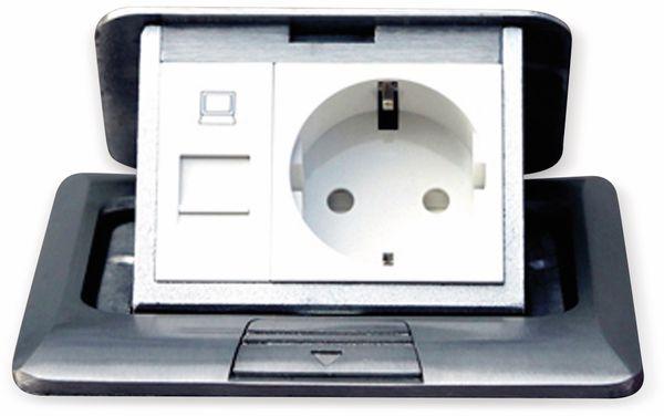 Boden-Einbausteckdose LEDmaxx, 1x Steckdose, 1x RJ45, Alu, eckig - Produktbild 6