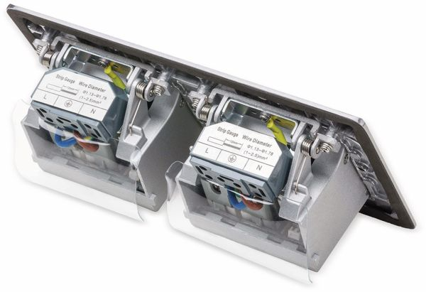 Boden-Einbausteckdose LEDmaxx, 2x Steckdose, 2x RJ45, Alu, eckig - Produktbild 4