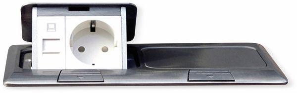 Boden-Einbausteckdose LEDmaxx, 2x Steckdose, 2x RJ45, Alu, eckig - Produktbild 8