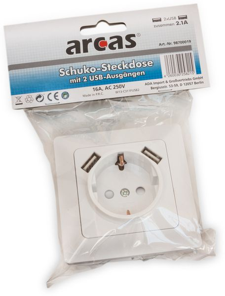 Schutzkontaktsteckdose ARCAS 98700019, 2x USB - Produktbild 2