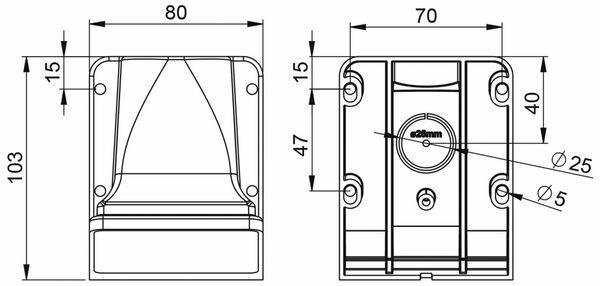 Wandgehäuse PCE für Nautilusdose, 75x75 mm - Produktbild 2