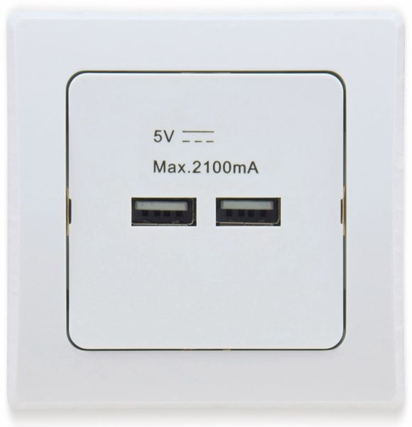 USB-Ladedose DELPHI, 2xUSB, 2A, 10A/250V~, mit 1-fach-Rahmen