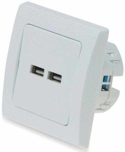 USB-Ladedose DELPHI, 2xUSB, 2A, 10A/250V~, mit 1-fach-Rahmen - Produktbild 2