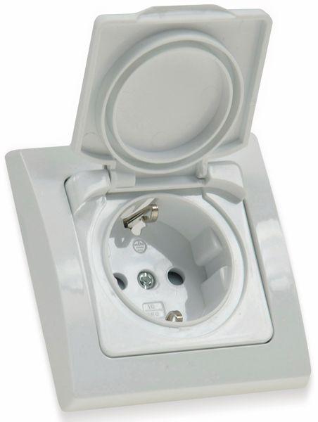 Schutzkontakt-Steckdose DELPHI, 16A/250V, weiß, IP44 - Produktbild 3