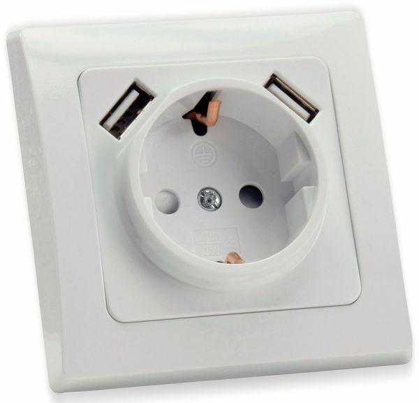 Schutzkontakt-Steckdose DELPHI, 16A/250V, weiß, 2x USB