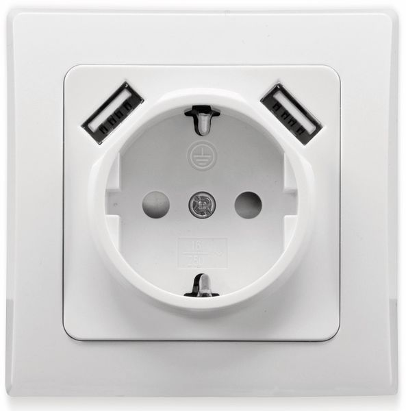 Schutzkontakt-Steckdose DELPHI, 16A/250V, weiß, 2x USB - Produktbild 2