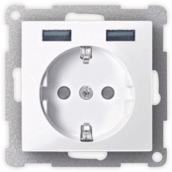 MERTEN MEG2366-0319, polarweiß glänzend, Steckdose mit 2x USB