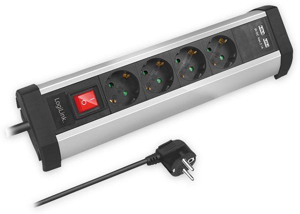 Tisch-Steckdosenleiste LOGILINK LPS236U, 4-fach mit 2x USB Port, 1,5 m - Produktbild 2