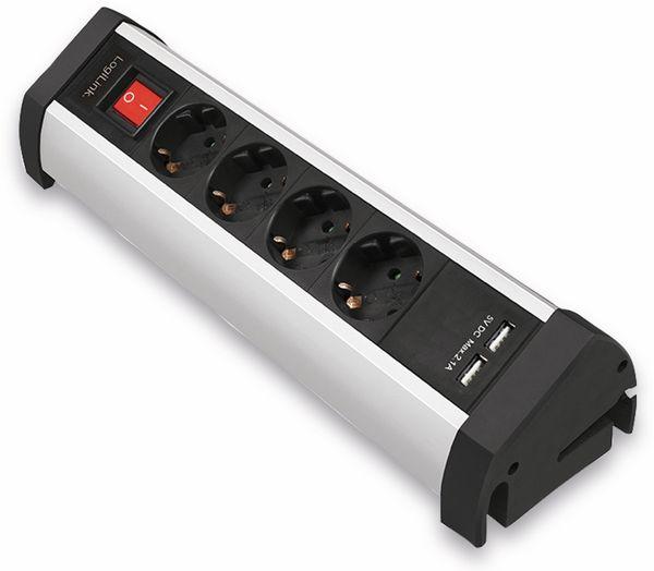 Tisch-Steckdosenleiste LOGILINK LPS236U, 4-fach mit 2x USB Port, 1,5 m - Produktbild 3