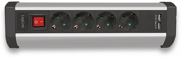 Tisch-Steckdosenleiste LOGILINK LPS236U, 4-fach mit 2x USB Port, 1,5 m - Produktbild 5