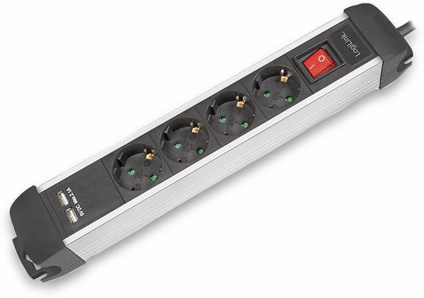 Steckdosenleiste LOGILINK LPS237U, 4-fach mit 2x USB Port, 1,5 m - Produktbild 3
