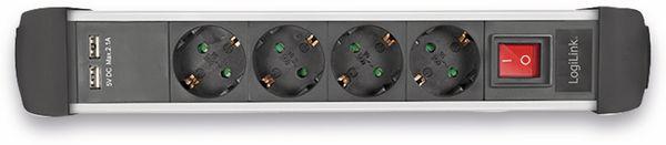 Steckdosenleiste LOGILINK LPS237U, 4-fach mit 2x USB Port, 1,5 m - Produktbild 4