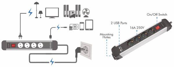 Steckdosenleiste LOGILINK LPS237U, 4-fach mit 2x USB Port, 1,5 m - Produktbild 5