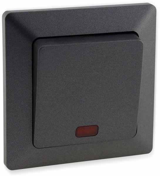 Kontrollschalter MILOS 23039, 10A/250V~, mit Lämpchen, anthrazit