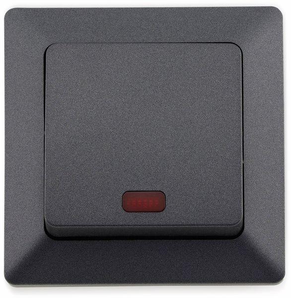 Kontrollschalter MILOS 23039, 10A/250V~, mit Lämpchen, anthrazit - Produktbild 2
