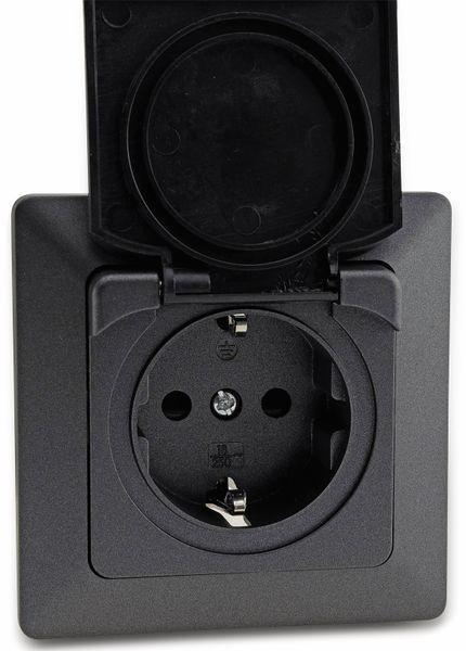 Schutzkontakt-Steckdose MILOS 23049, mit Klappdeckel, 16A/250V~, anthrazit - Produktbild 3