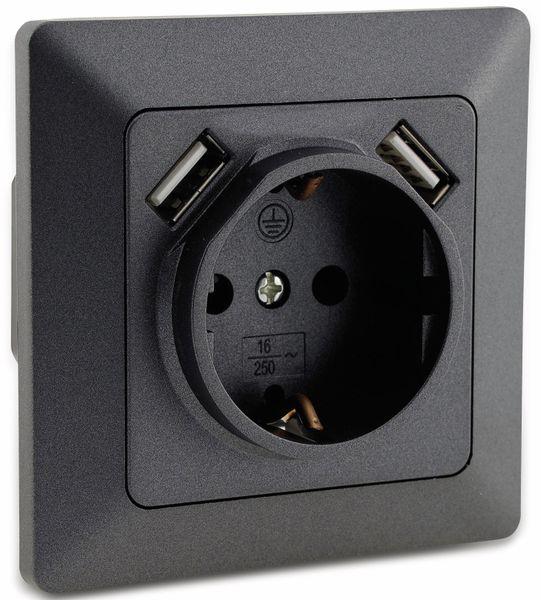 Schutzkontakt-Steckdose MILOS 23050, 2x USB Buchse, 16A/250V~, anthrazit