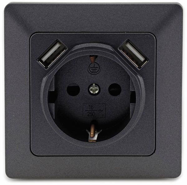Schutzkontakt-Steckdose MILOS 23050, 2x USB Buchse, 16A/250V~, anthrazit - Produktbild 2