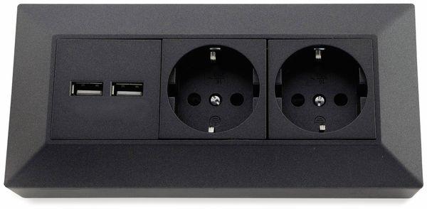 Steckdosenblock CHILITEC 23057, 2-fach, mit 2x USB, 16A/250V~, anthrazit - Produktbild 2