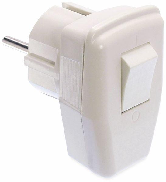 Schutzkontakt-Stecker AS SCHWABE, mit Schalter, weiß