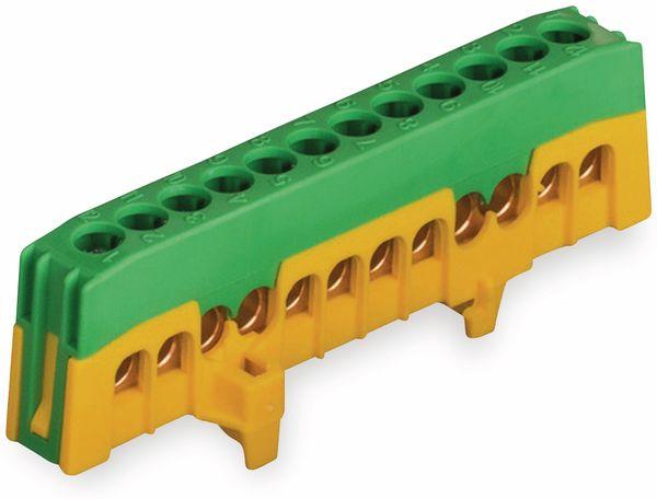 Schutzleiterklemme POLLMANN, 12-polig, 16 mm², grün/gelb, für Hutschiene