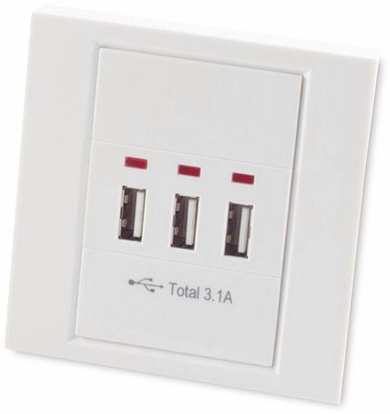 USB-Unterputzdose, 3x USB, 15 W, 3,1 A, weiß