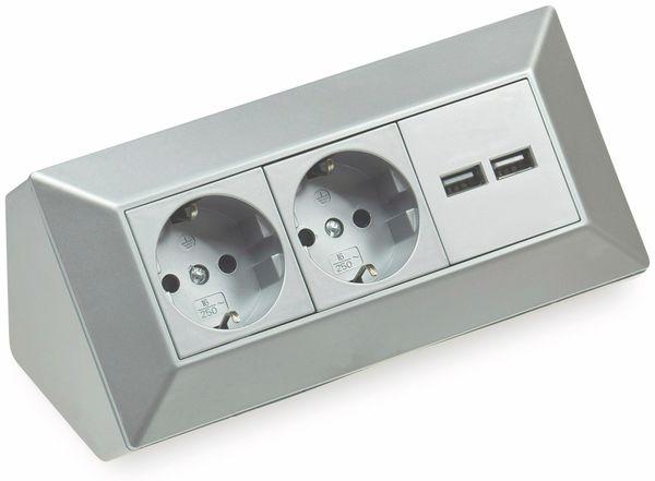 Steckdosenblock CHILITEC 22141, 2-fach, mit 2x USB, 16A/250V~, silber