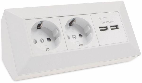 Steckdosenblock CHILITEC 22793, 2-fach, mit 2x USB, 16A/250V~, weiß matt