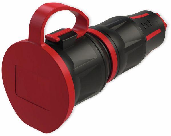 Schutzkontaktkupplung PCE TopTaurus2, mit Deckel, schwarz/rot