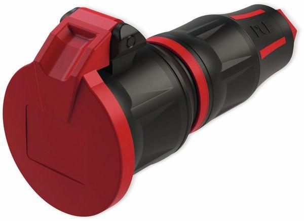 Schutzkontaktkupplung PCE TopTaurus2, mit Klappdeckel, schwarz/rot, mit LED