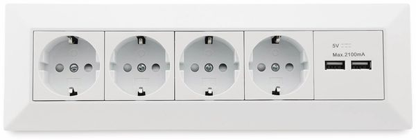 Steckdosenblock CHILITEC 23117, 4-fach, mit 2x USB, 16A/250V~, weiß - Produktbild 2