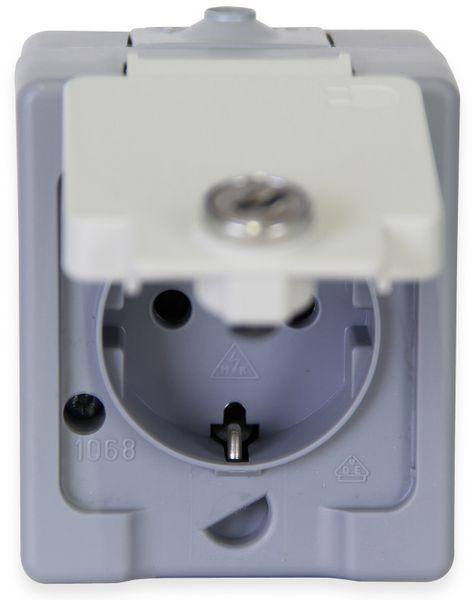 Feuchtraum-Steckdose KOPP 105648002, Klappdeckel abschließbar, grau - Produktbild 2