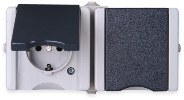 Feuchtraum-Steckdose KOPP proAQA 950656001, 2-fach, Waagerecht, grau