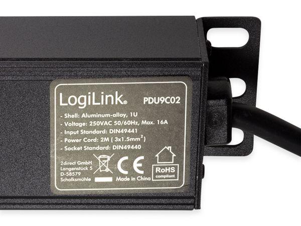 """Steckdosenleiste LOGILINK, 19"""", 9-fach, Schutzkontaktstecker, Schalter, schwarz - Produktbild 5"""