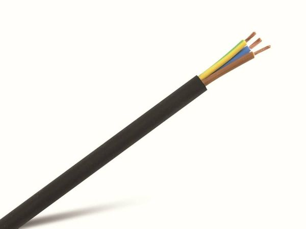 PVC-Schlauchleitung H03VV-F, 3G0,75, 10 m, schwarz