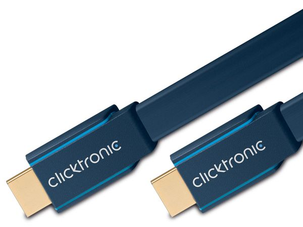 CLICKTRONIC Casual HDMI-Flachkabel, HIGH SPEED with ETHERNET, 1 m