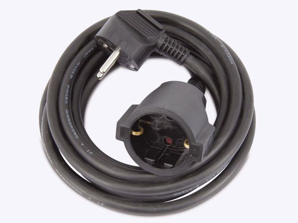 Schutzkontakt-Verlängerung REV, 3 m, schwarz - Produktbild 2