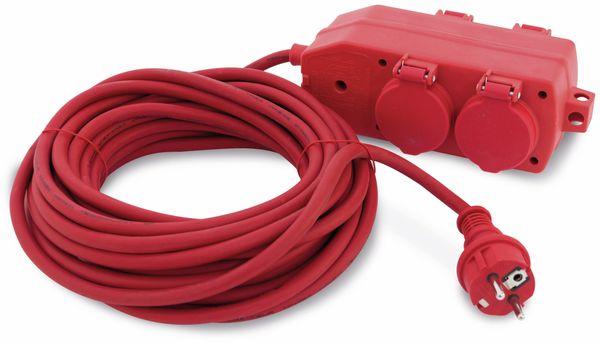 Schutzkontakt-Verlängerung REV, 10m, 4-fach Kupplung, rot
