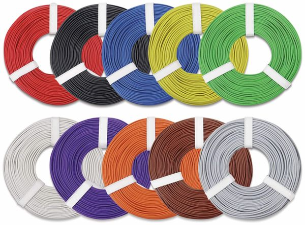 Kupferlitzen-Set (0,25 mm²) 10 x 10 m, 10 farbig