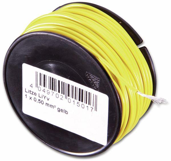 Litze, 1x0,50, 100m Spule, gelb, LIYV