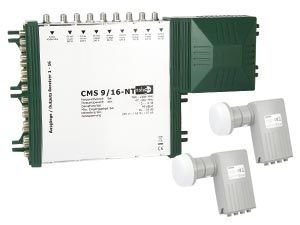 LNB-/Multischalter-Set für 2 Satelliten-Positionen