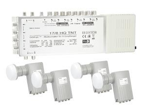 LNB-/Multischalter-Set für 4 Satelliten-Positionen