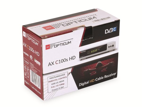 DVB-C HDTV-Receiver RED OPTICUM AX C100 HD, schwarz - Produktbild 8