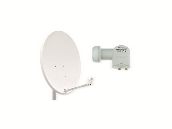 Set SAT-Antenne OPTICUM X80 lichtgrau, mit Twin-LNB OPTICUM LTP-04H