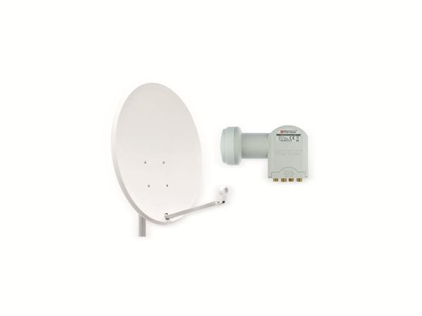Set SAT-Antenne OPTICUM X80 lichtgrau, mit Quad-LNB OPTICUM LQP-04H