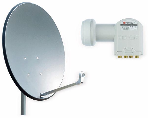 Set SAT-Antenne RED OPTICUM X80 anthrazit, mit Quad-LNB RED OPTICUM LQP-04H