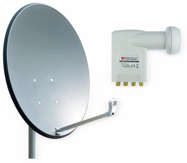 Set SAT-Antenne RED OPTICUM X80 anthrazit, mit Octo-LNB RED OPTICUM LOP-04H