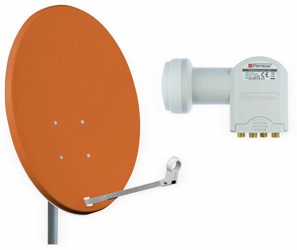 Set SAT-Antenne RED OPTICUM X80 ziegelrot, mit Quad-LNB RED OPTICUM LQP-04H