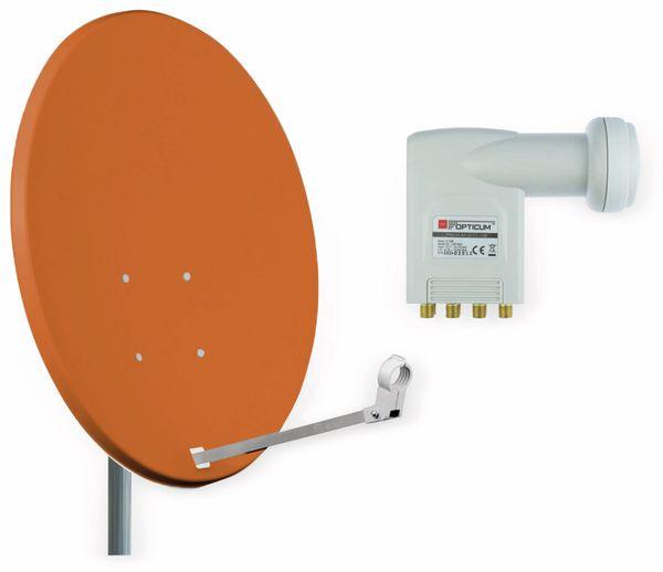 Set SAT-Antenne RED OPTICUM X80 ziegelrot, mit Octo-LNB RED OPTICUM LOP-04H